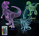 3PCS Night Light for Kids —3D Illusion Dinosaur Night Lamp Three Pattern and 7 Colors Change Decor Lamp with Remote Control for Kids Best Gifts