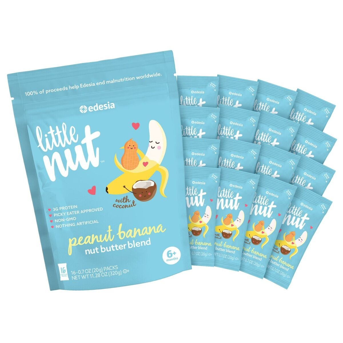 Little Nut, Peanut Banana Nut Butter, Baby and Toddler Snacks, 16 Count