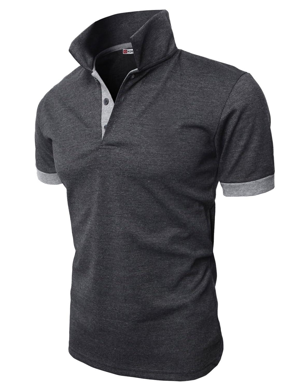 【H2H】 メンズ カジュアル ゴルフウェアー ファッション ベーシック 無地 スリームフィット ワンポイント 半袖 ポロシャツ B0186YJ8GS XL|0448-チャコール 0448-チャコール XL