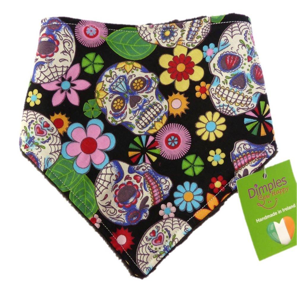 Dimples Hundehalstuch - Mexikanische Totenköpfe Schwarz (Handgemacht für Alle Größen und Rassen) Dimples - Sew Happy
