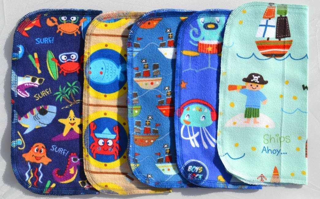 2 Ply Printed Flannel Washable. Pirates and Pals Fun Ocean Adventure- Set Napkins 8x8 inches 5 Pack - Little Wipes (R) Flannel by Gina's Soft Cloth Shop (Image #1)