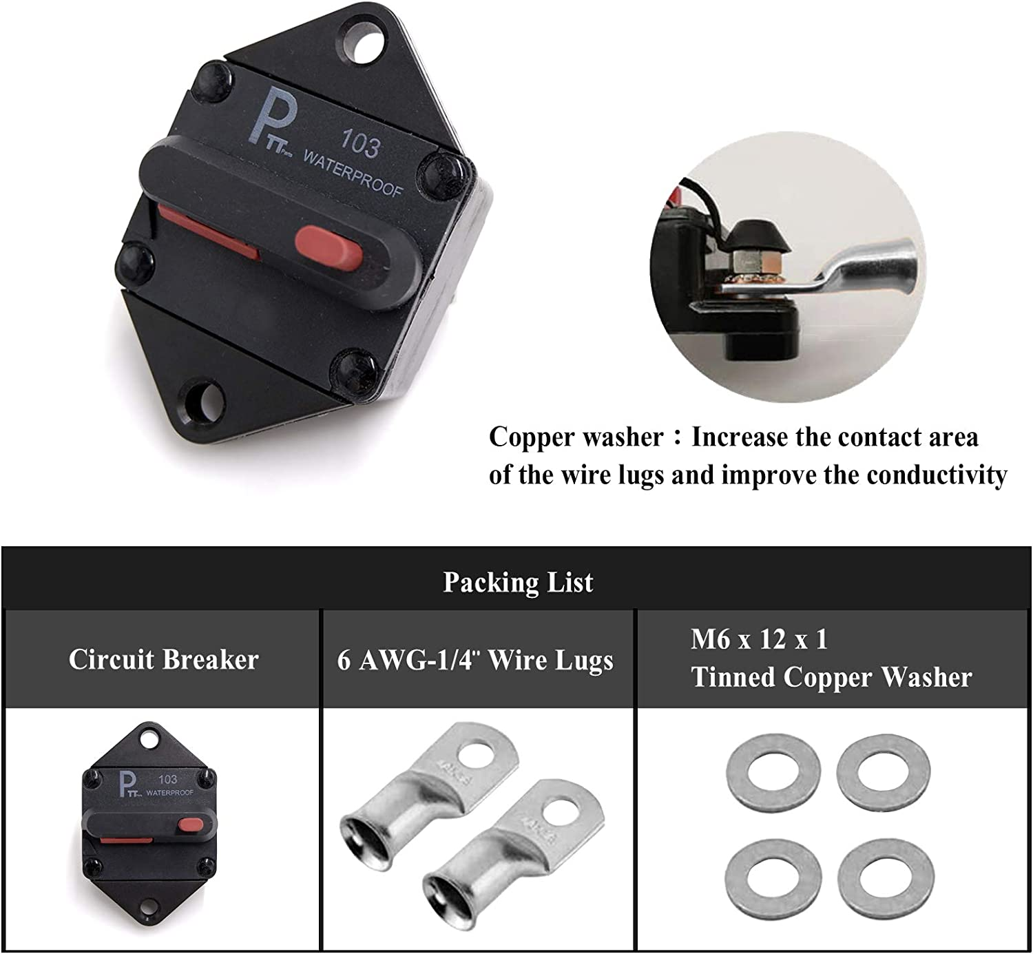 Photo-Top 100 Amp 48VDC Panel Mount Hi-Amp Water Resistant Circuit Breaker with Manual Reset 12V