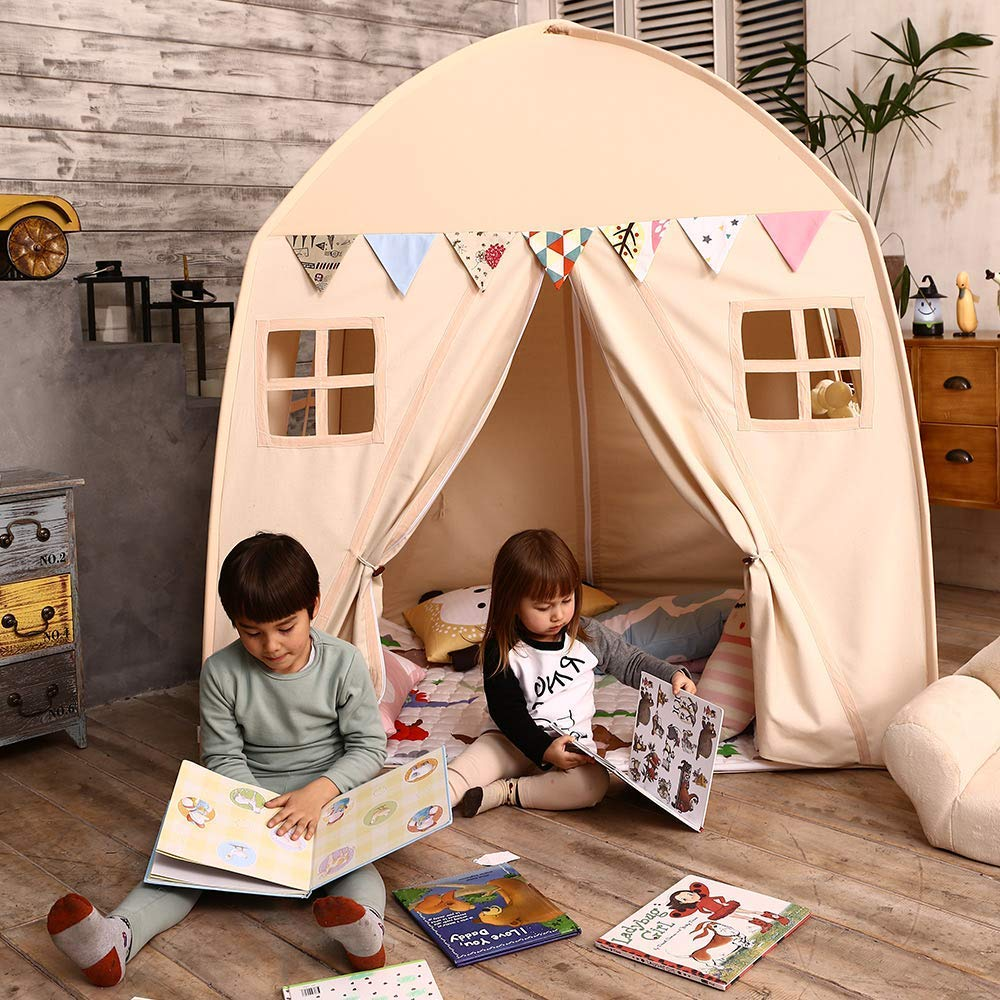 Love Tree Kids Play Tent Castle Large Teepee Tent for Kids with Mat Portable Playhouse Children House Fort Indoor Outdoor Use with Carry Bag for Boys and Girls Beige by Love Tree