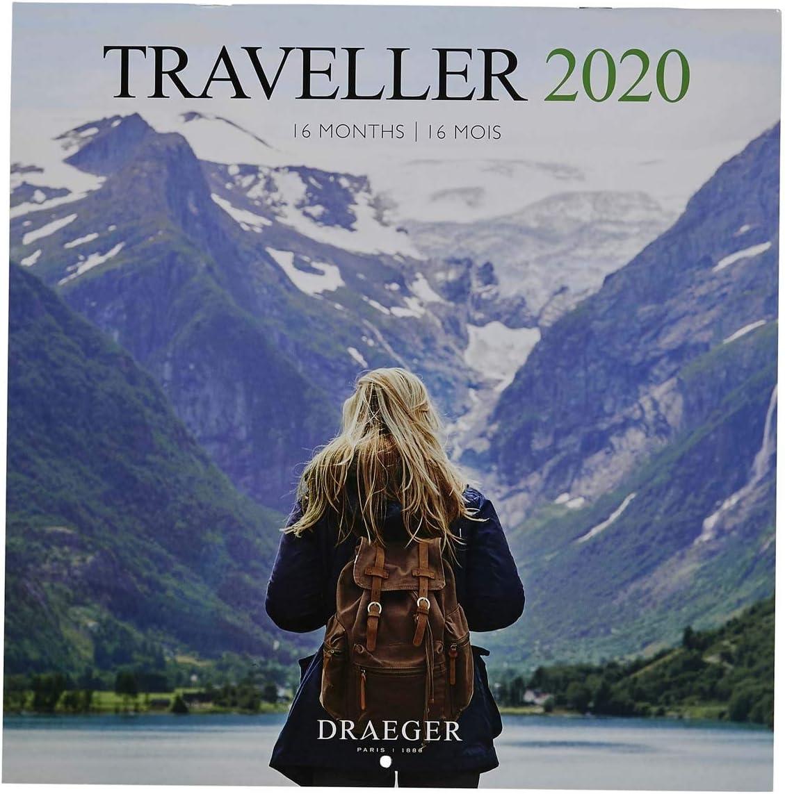 Draeger - Calendario de pared grande Voyageur 2020 - Cuadrícula ...