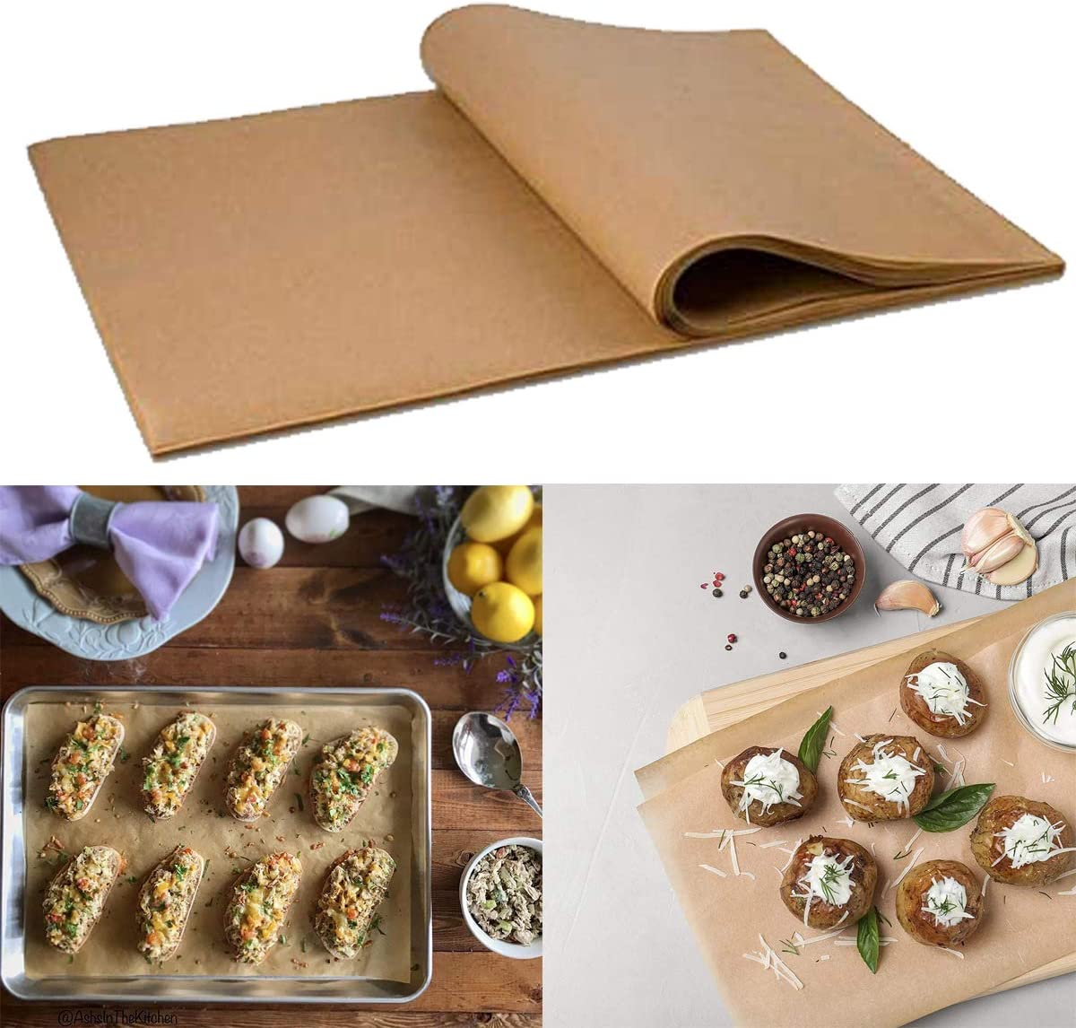 20 * 30cm 30 * 40cm Baking Parchments,Liwein 200 Sheets Unbleached Greaseproof Parchment Paper Sheets Dual-Sided Coating Siliconized Non-Stick Cooking Mats for Catering Plate Grill Toaster Oven