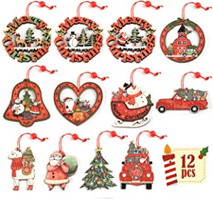 ilauke 12Pcs Christmas Ornaments Wood Tree Decorations Wooden Hanging Crafts Santa Claus Snowman Ornaments Gift Tags Decor, Red & Green