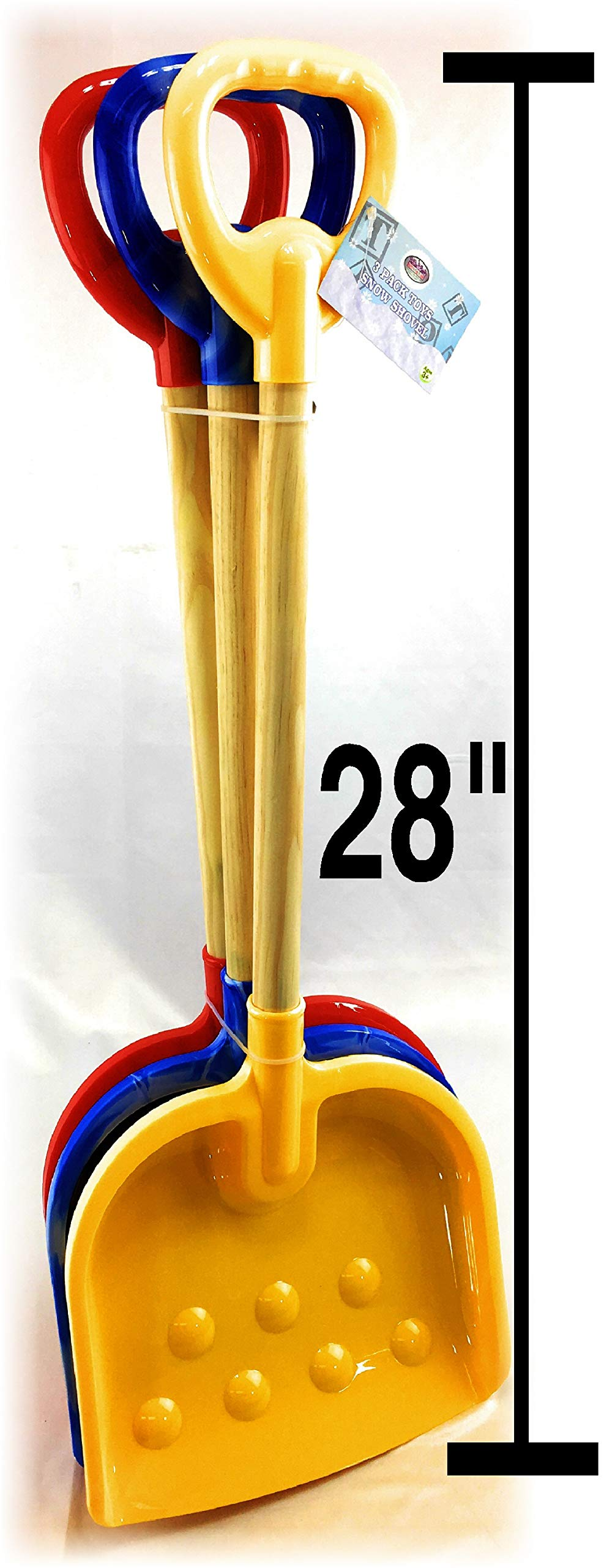 Matty's Toy Stop 28'' Heavy Duty Wooden Snow Shovels with Plastic Scoop & Handle for Kids Red, Yellow & Blue Swirl Gift Set Bundle - 3 Pack by Matty's Toy Stop (Image #3)