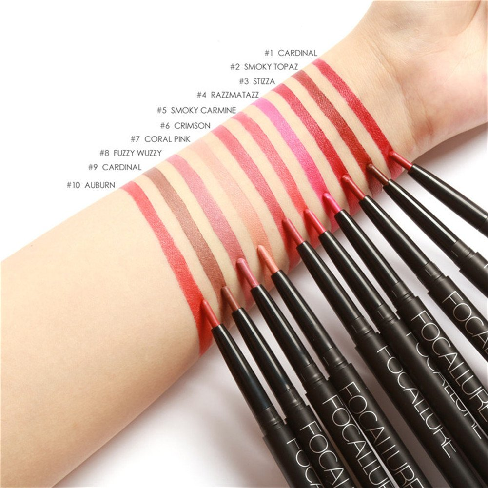 FOCALLURE 19Colors Lip Liner Pencil Waterproof Sharpening-Free Smooth And Long Lasting Lipstick Pen-#11 Per