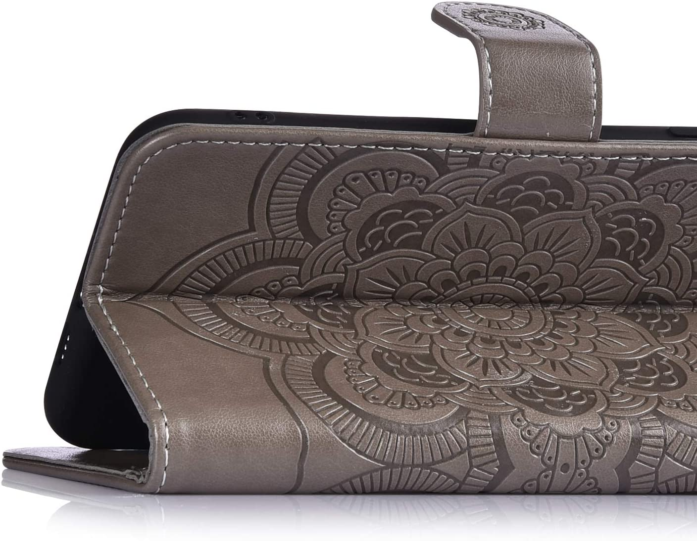 Herbests Compatible with Samsung Galaxy M20 Case Wallet Leather Case Embossed Mandala Flower Pattern Design PU Leather Flip Cover with Wrist Strap Kickstand Card Slots Holder,Rose Gold