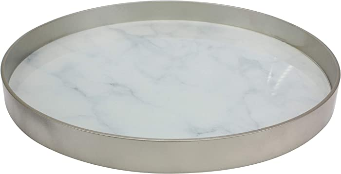 Stonebriar Round Silver Wood and White Marble Glass Serving Tray, Decorative Centerpiece for Dining Table or Coffee Table
