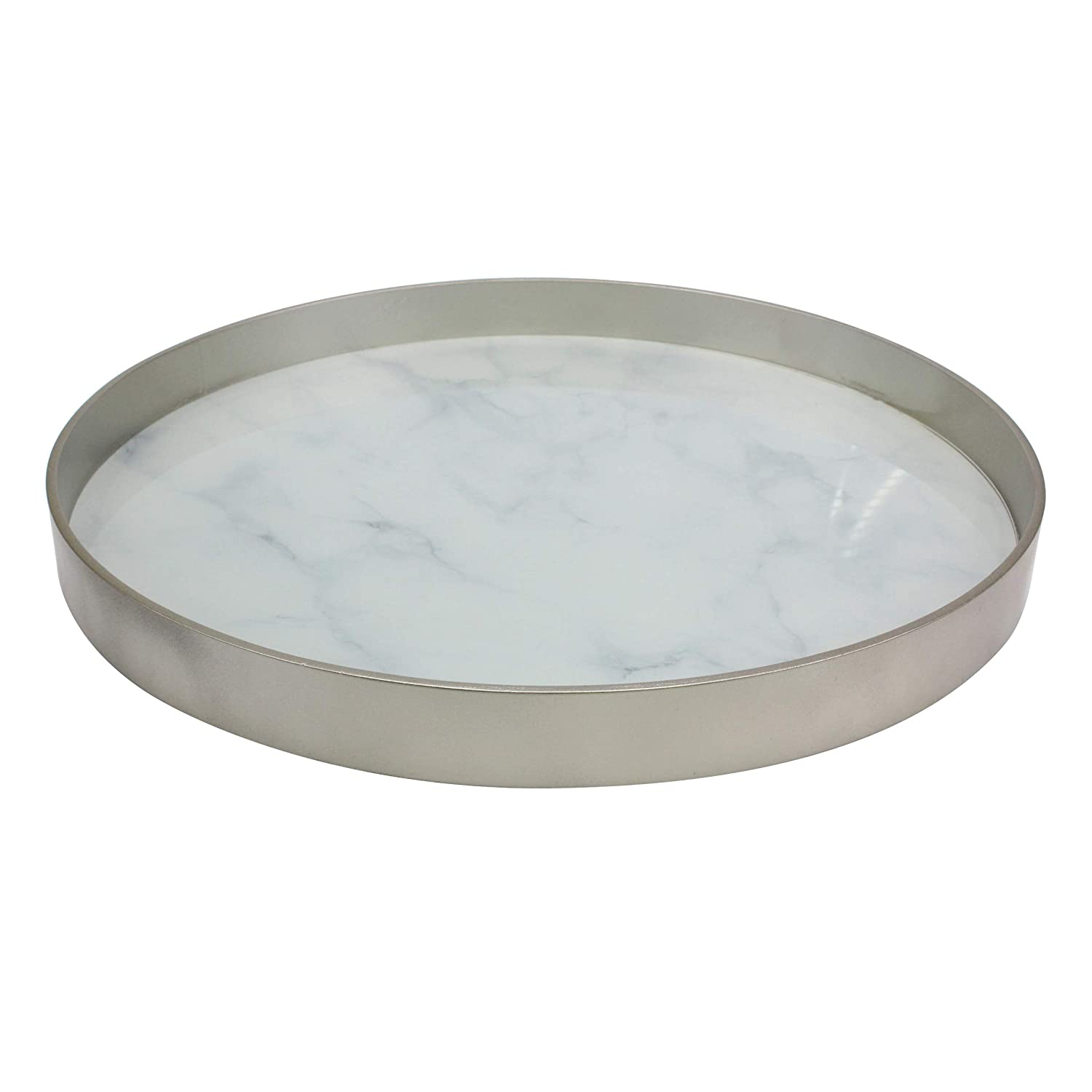 CKK Industrial LTD Stonebriar Round Silver Wood and White Marble Glass Serving Tray, Decorative Centerpiece for Dining Table or Coffee Table