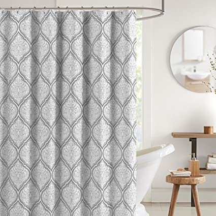 Amazoncom Juno Grey White Fabric Shower Curtain Flower Print in