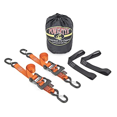 "1½"" x 6ft PowerTye Made in USA Ergonomic Ratchet Tie-Down Kit with 1½""x18"" Soft-Tyes and Storage Bag, Orange (Pair)"