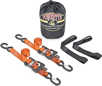 Orange Pair 1/½ x 6ft PowerTye Made in USA Ergonomic Ratchet Tie-Down Kit with 1/½x18 Soft-Tyes and Storage Bag