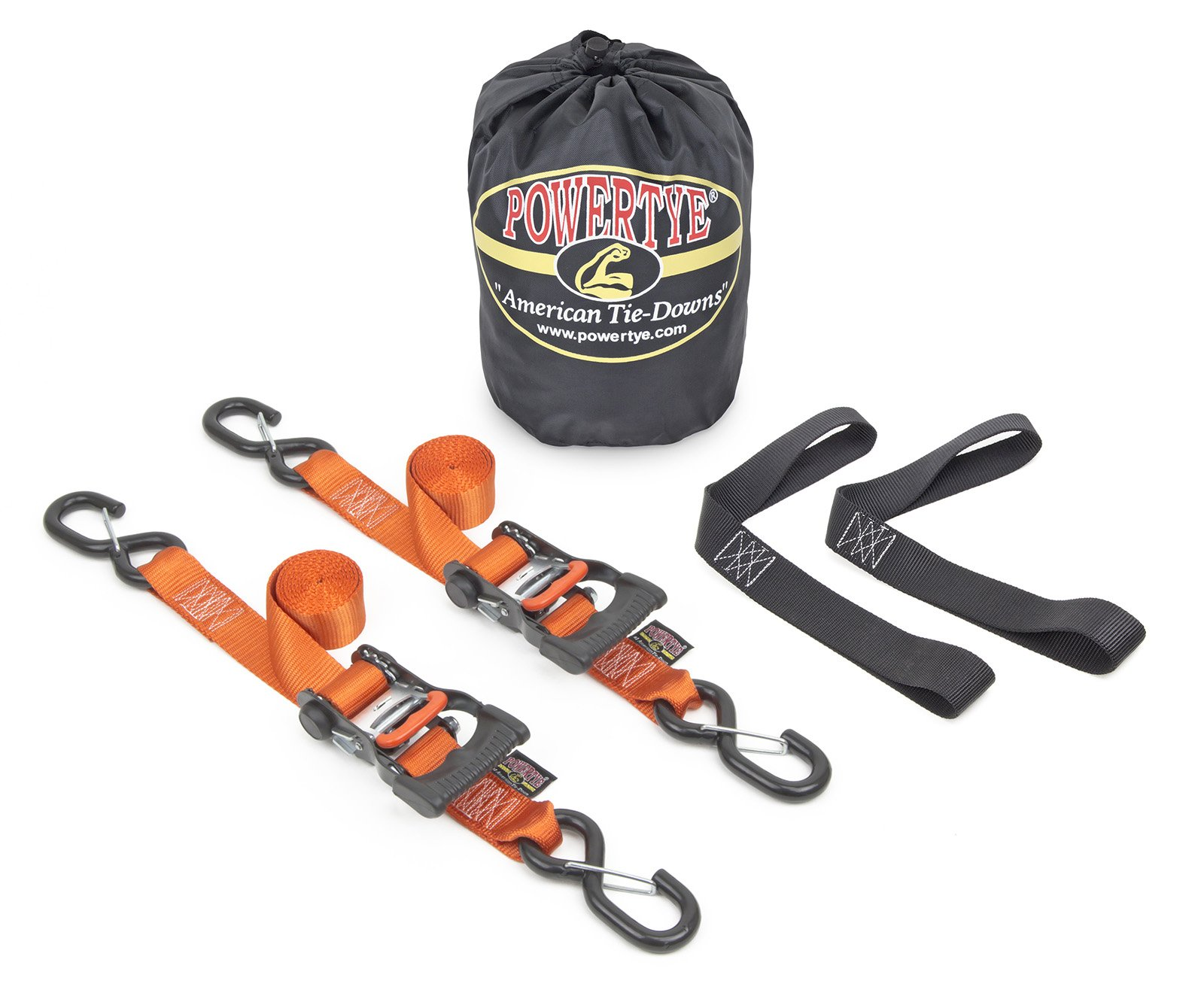 1½'' x 6ft PowerTye Made in USA Ergonomic Ratchet Tie-Down Kit with 1½''x18'' Soft-Tyes and Storage Bag, Orange (Pair)