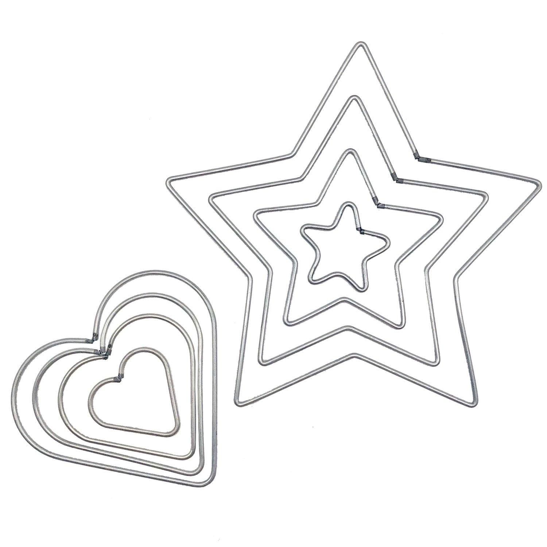 Chris.W 8 Pcs Craft Metal Star/Heart Shaped Rings Metal Hoops for Dream Catcher, 4 Sizes(5cm/8cm/10cm/12cm) 4336811913