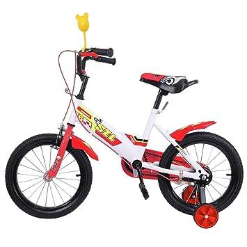 Ridgeyard 16 pulgadas Bicicleta Infantil Estudio aprendizaje montar a caballo bicicleta niños niñas bicicleta con ruedines por 3-5 años(rojo): Amazon.es: ...