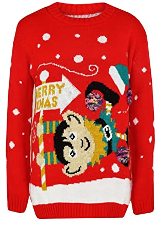 96edaad2e Red Olives® Kids Merry Xmas Knitted Jumpers Girls Swinging Elf Bambi Baby  Reindeer Christmas Jumper Top 5/6 Years, 7/8 Years, 9/10 Years, 11/12  Years, ...