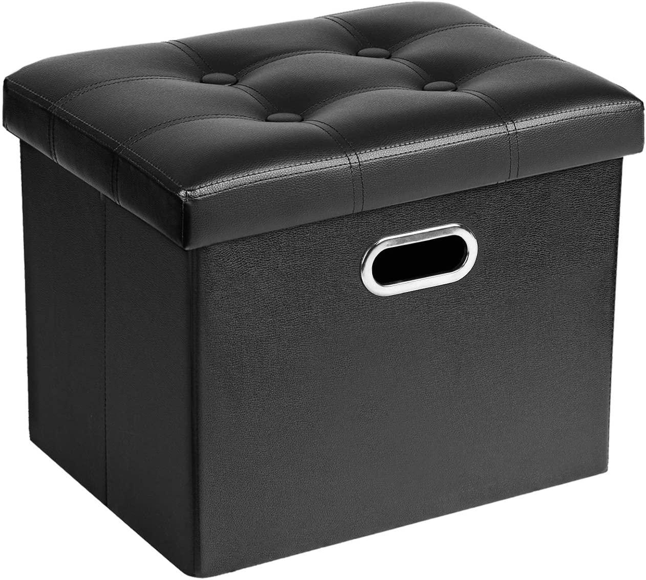 Cosyland Ottoman with Storage Folding Leather Ottoman Footrest Foot Stool Black Ottoman for Room Small Rectangle Collapsible Bench Furniture with Handles Lid Toy Chest 17x13x13in
