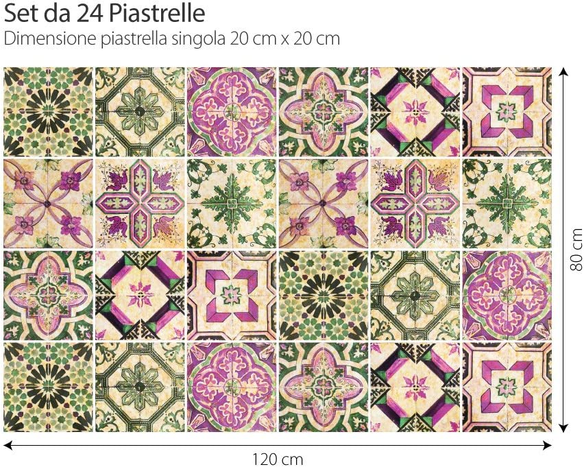 Antigua Provenza PS00061 Piezas Stickers Azulejos Collage de Azulejos Adhesivo para Azulejos 15x15 cm Adhesivo Decorativo para Azulejos para ba/ño y Cocina 32