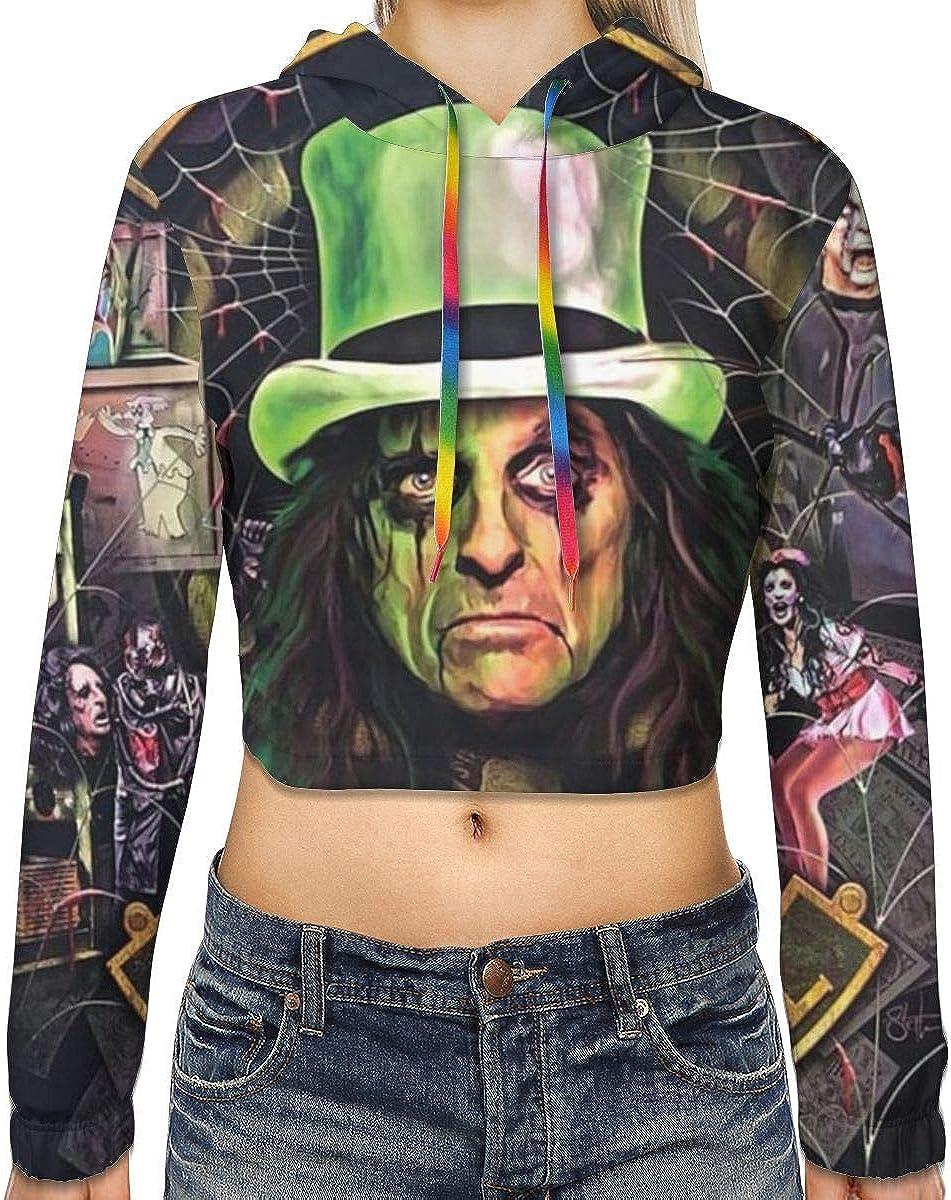 KegamiMisa Alice Cooper Paranormal Womens Casual Dew Navel Cropped Sweatshirts