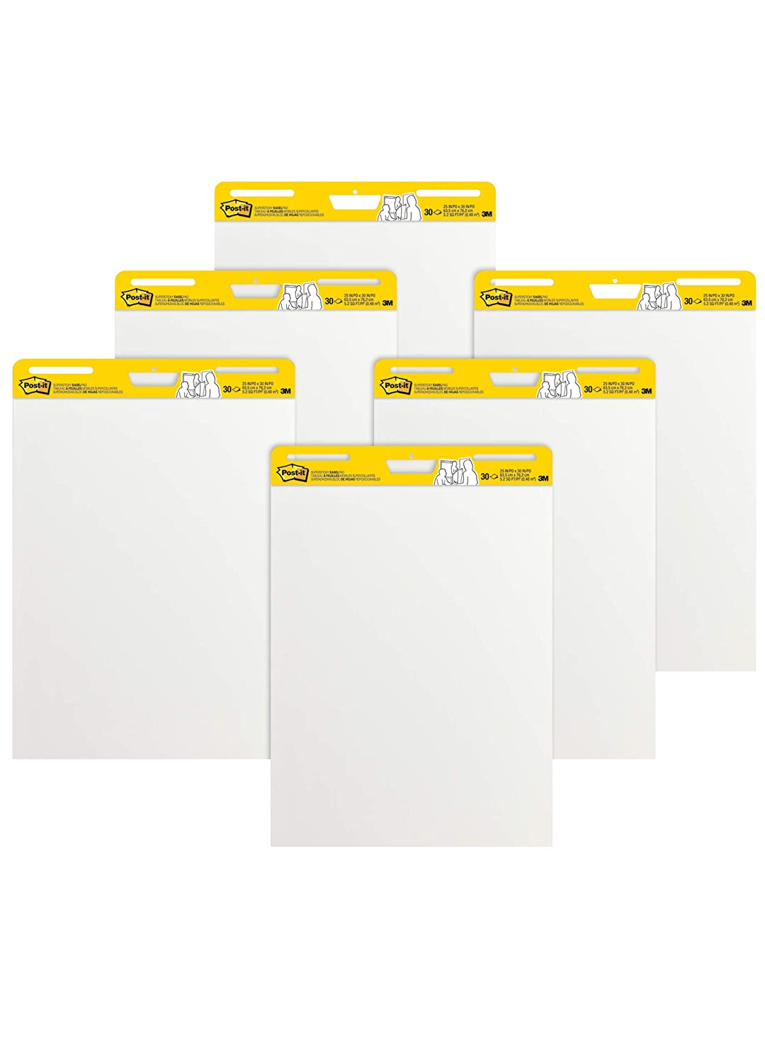 Post-it Super Sticky Easel Pad, 25 x 30 Inches, 30 Sheets/Pad, 6 Pads (559VAD6PK), Large White Premium Self Stick Flip Chart Paper, Super Sticking Power