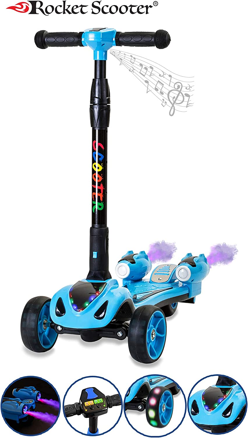 The Original Rocket Scooter, Kids Kick Scooter, Music, 3 Colors Lighted Wheels, Spray Lights, Sturdy Steering Handlebar, Stable Board, Adjustable Height Foldable Design