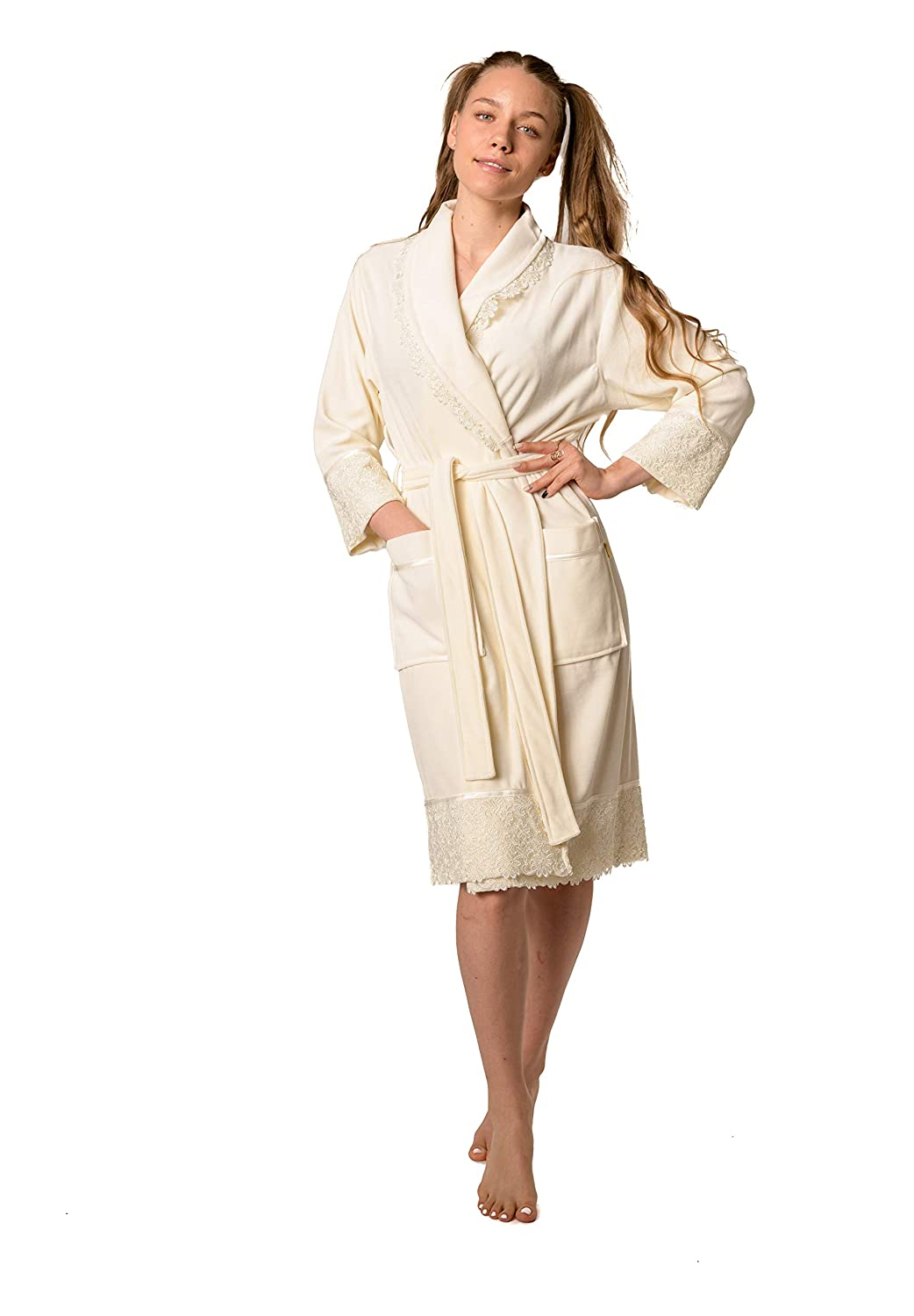 Cream Nusa Women Velour Dressing Gown Soft Bamboo Modern Collection