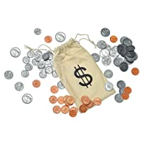 Budget Buddy Pretend Play School Money Coins for Kids - 110 Plastic Coins in Pouch