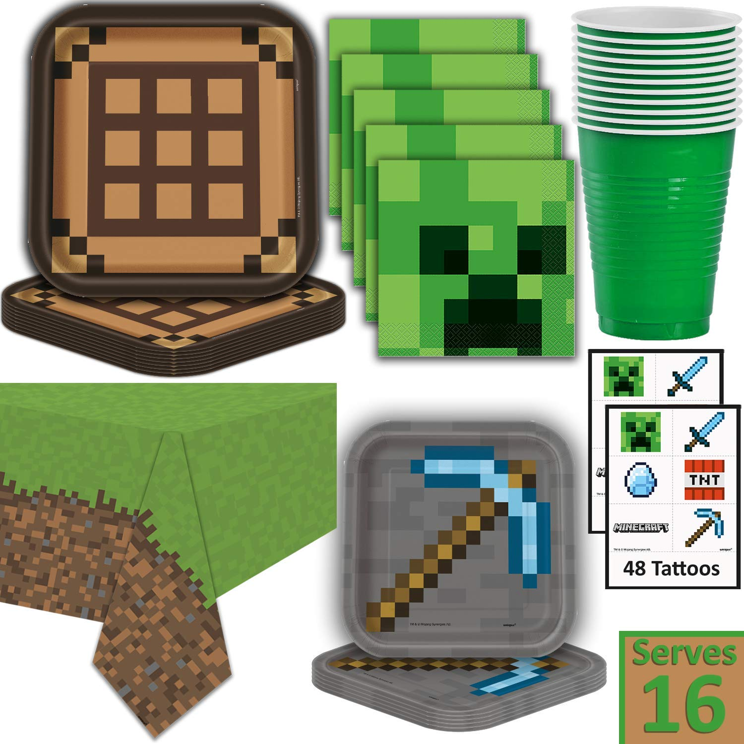 Minecraft Party Supplies for 16 - Dinner Plates, Dessert Plates, Napkins, Cups, Tablecloth, Tattoos - Pixel Mining Theme Birthday Tableware and Favors by HeroFiber