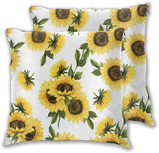 Cushion Covers Pack of 2 Cushion Covers Throw Pillow Cases Shells for Couch Sofa Home Decor Lovely Sunflower 45cm x ...