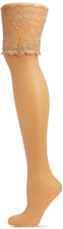 Hudson Glamour 20 Halterlose Strümpfe, transparente Nylonstrümpfe für Damen in 20 den Optik, Feinstrümpfe glänzend & verführerisch (schwarz & beige), Menge: 1 Paar KUNERT FASHION GmbH 120000565