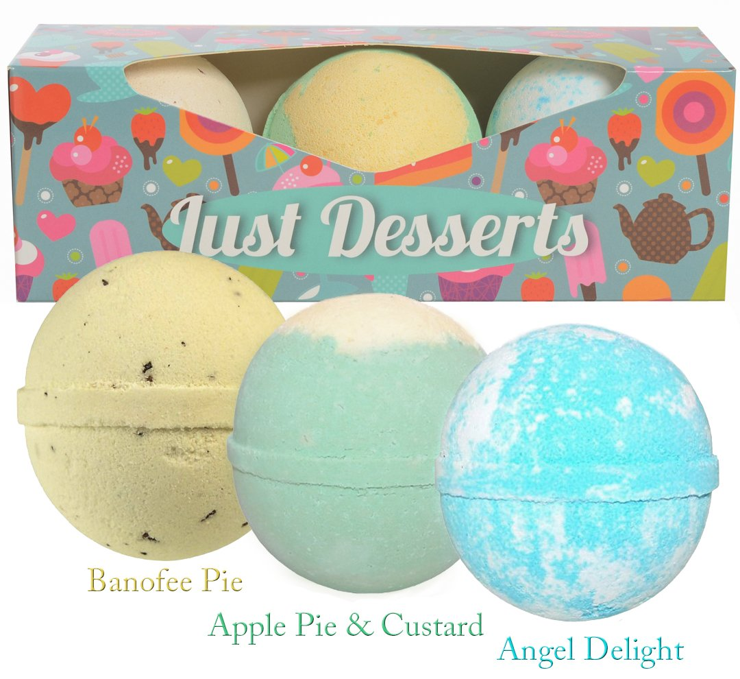 BIRTHDAY GIFT IDEA: Fun Bath Bombs Lush Gift Set For Kids. Includes 3 Extra Large (Baseball size) Bath Bombs. Makes A For Girls, Boys & Kids. (Blue)