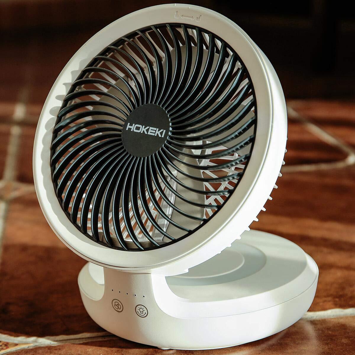 HOKEKI USB Desk Fan with Night Breathing Light, Air Circulator Desk Fan 90 Degree Rotation Portable Foldable Fan for Home, Office, Travel, Camping, Outdoor, Indoor Fan, 4 Speed Setting, White