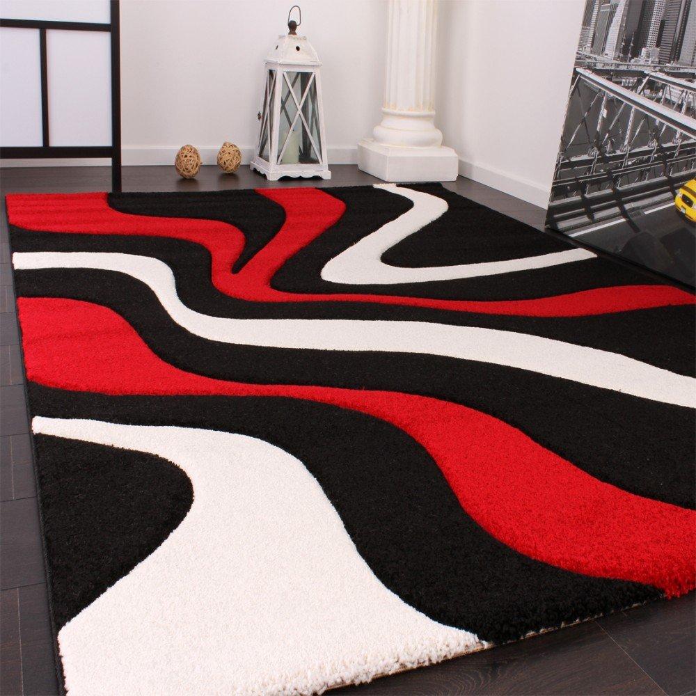 phc tapis de crateur aux contours dcoups motif vagues en rouge noir blanc dimension160x230 cm amazonfr cuisine maison - Tapis De Salon Rouge