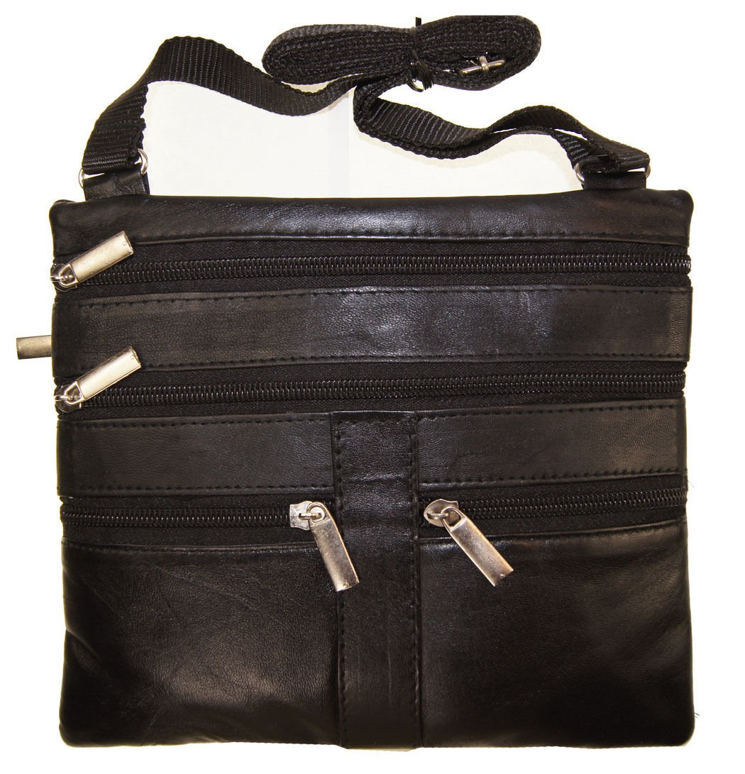 Black Ladies Genuine Leather Cross Body Bag Satchel Messenger Bag 48'' Strap by Wallet (Image #1)