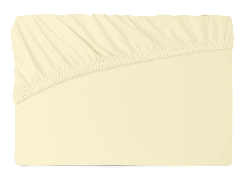 ca Ecru Spannbetttuch mit Fulflexgummi in 4 Gr/ö/ßen und 50 Farben Schlafgut Mako-Jersey in exklusiver Qualit/ät 100/% gek/ämmter Mako-Baumwolle 90-100 x 190-200 cm
