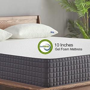 Queen Mattress - Sweetnight Breeze 10 Inch Queen Size Mattress-Infused Gel Memory Foam Mattress for Back Pain Relief & Cool Sleep, Medium Firm