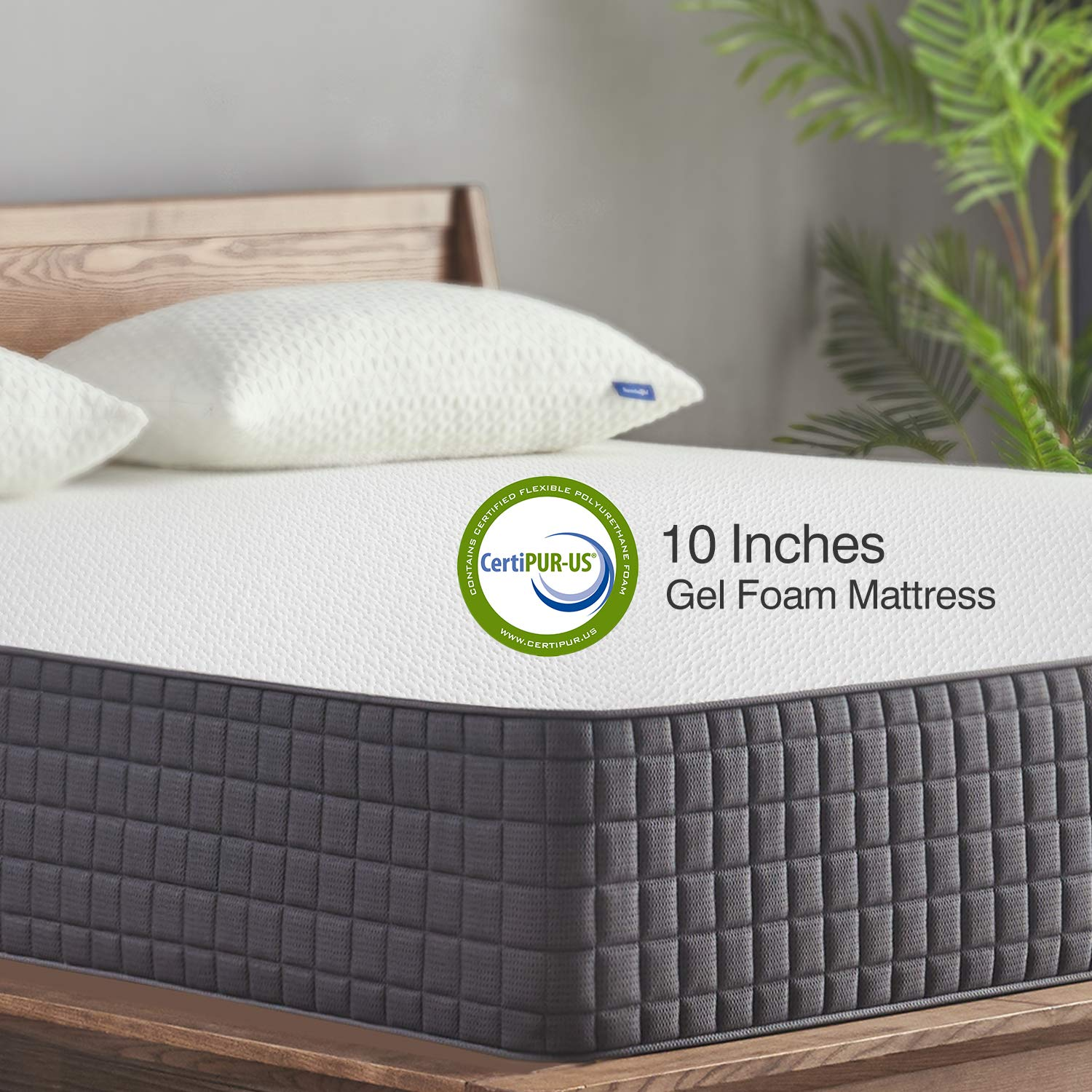 King Mattress, Sweetnight 10 Inch King Size Mattress-Infused Gel Memory Foam Mattress for Back Pain Relief & Cool Sleep, Medium Firm with CertiPUR-US Certified, 10 Years Warranty by Sweetnight