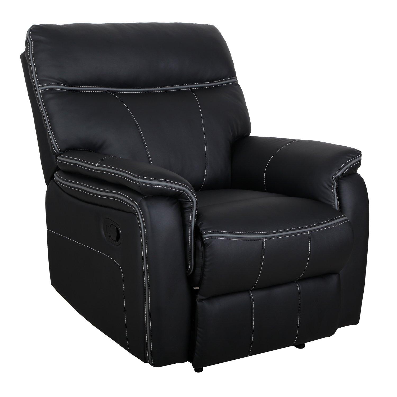 Amazon com homcom modern pu leather living room recliner lounger sofa chair black health personal care