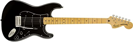 Squier by Fender Vintage Modified 70s Stratocaster Electric Guitar - Black - Maple Fingerboard