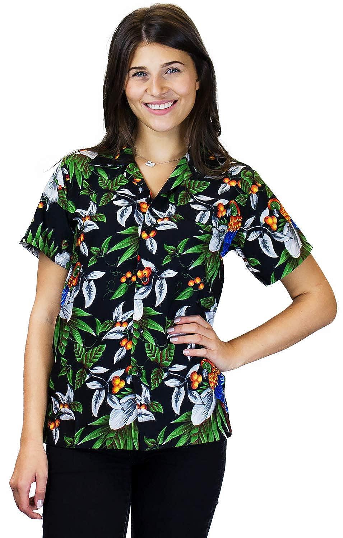 V.H.O. Funky Hawaiian Blouse Shirt, Cherry Parred, Black, M