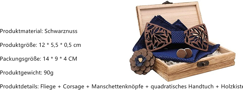 Liyao M/änner Holz Classic Fliege Set Bow Tie Halstuch und Manschettenknopf Design Set