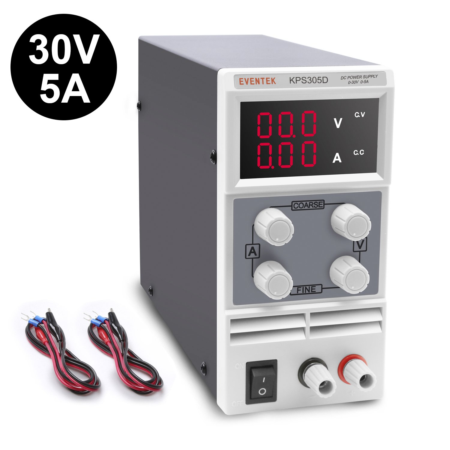 DC Power Supply Variable, Eventek KPS305D Adjustable Switching Regulated Power Supply Digital, 0-30 V 0-5 A with Alligator Leads US Power Cord