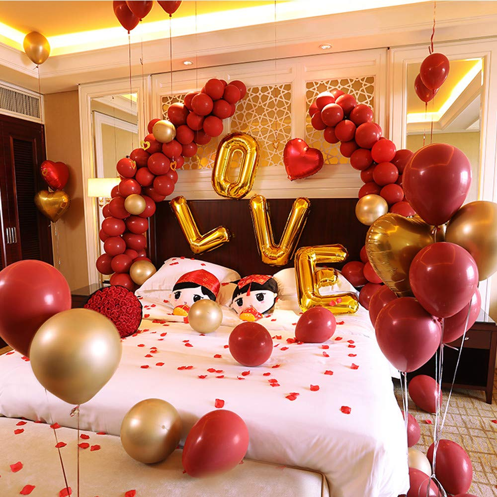 Falling Yan Qingcheng (Ruby Red Luxury Set) HEXUAN Marriage Room Decoration and Decoration Goods Marriage Balloon Set Wedding Address Proposal Bedroom Romantic Creative Wedding Day 16 inches,Falling Yan Qingcheng (Ruby Red Luxury Set)