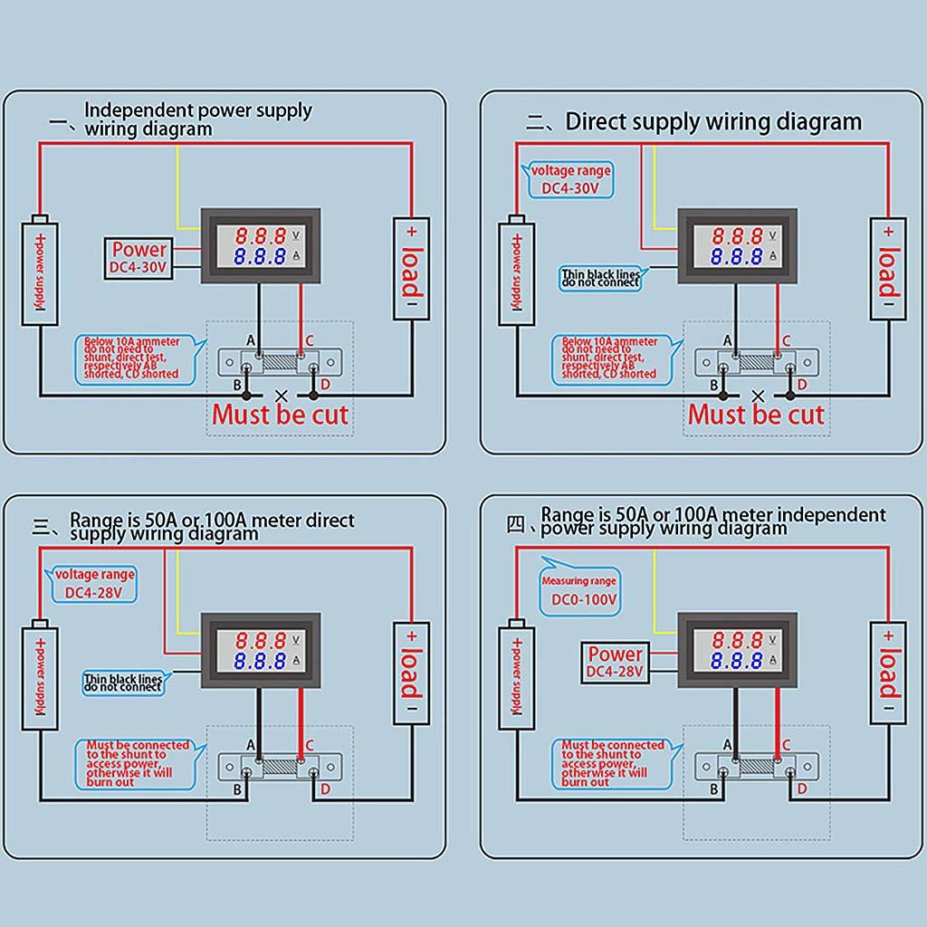 Meatyhjk DC 0-100V//50A Voltmetro digitale a LED con doppio display e indicatore di tensione B