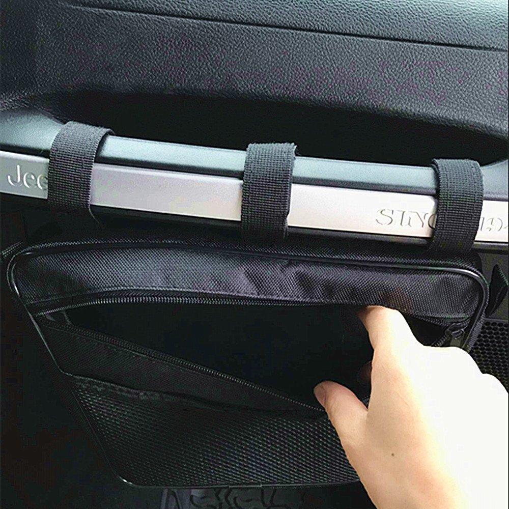 Opall Passenger Grab Handles UV Protected Polyester Dash Bag-Pouch storage bag for 1965-2017 Jeep Wrangler JK,TJ,YJ,CJ(Black)