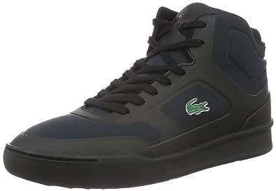 Lacoste Chaussures Explorateur Milieu De Baskets Hi Noir Noir Adt2pq