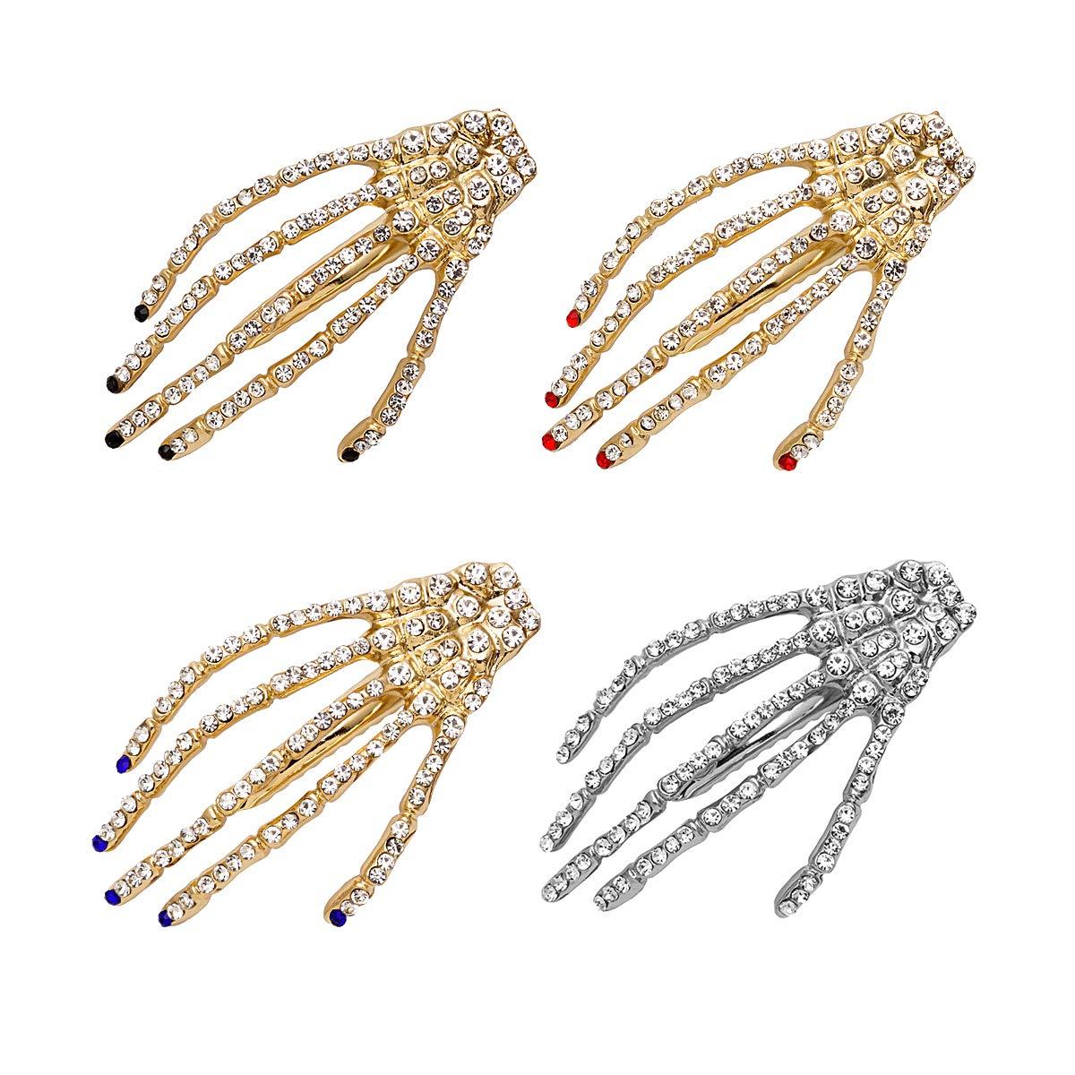 Rhinestone Skeleton Hand Hair Clip For Christmas Women Girls Crystal Spark Hair Slides Skull Hand Bone Hair Barrette Claws Gothic Hairpin Ladies Thansgiving New Year Birthday Valentine Present Halloween Cosplay Party Décor Accessories Set 4 Pack