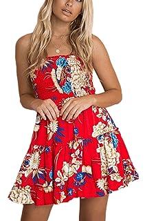 3ae2b989b39 Zonsaoja Women s Strapless Dress Mini Floral Print Summer Tube Top Dresses  Beach